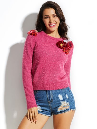 Applique Pullover Flocking Women's Sweater