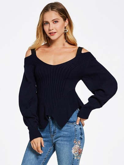 Slim Backless Lantern Sleeve Women's Knitwear