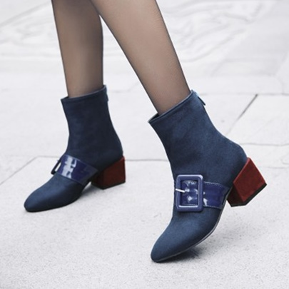 Thick Heel Zipper Patchwork Women's Ankle Boots