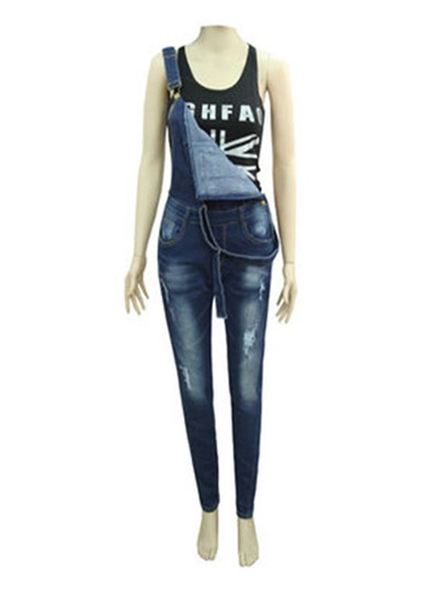 Normcore Slim Hole High Waisted Denim Women's Overall