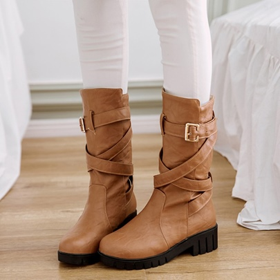 Cross Buckle Block Heel Women's Ankle Boots