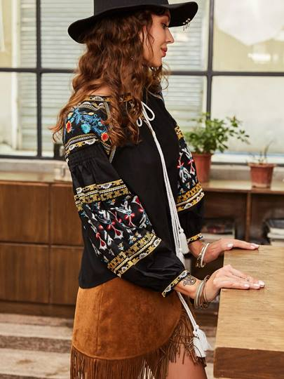 Floral Embroideried Lantern Sleeve Lace-Up Women's Blouse