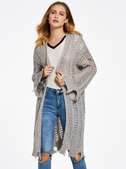 Loose Hollow Wrapped Cardigan Women's Sweater