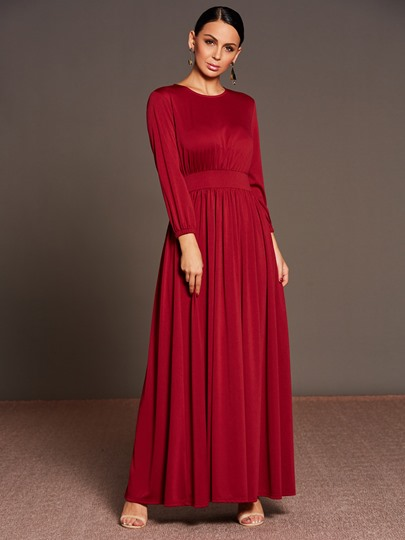 Burgundy Long Sleeve Pleated Women's Maxi Dress