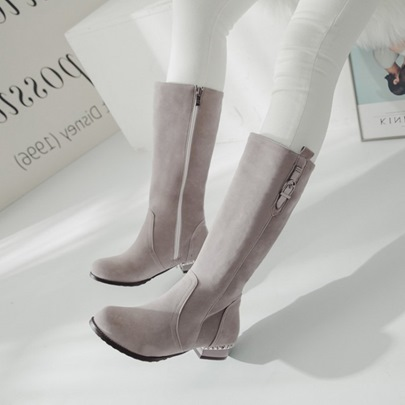 Plus Size Shoes Zipper Block Heel Boots for Women
