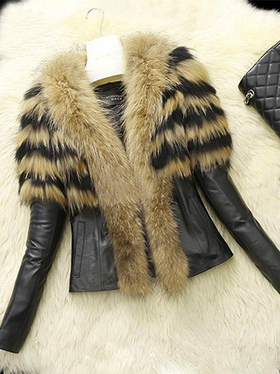 Cape Style Faux Fur Lapel Slim PU Short Women's Jacket