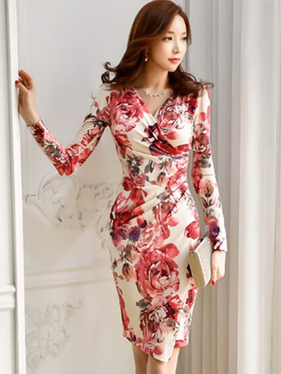 V Neck Flowers Pattern Women's Sheath Dress