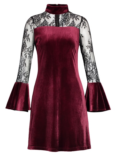 Back Zipper Velvet Patchwork Women's Day Dress