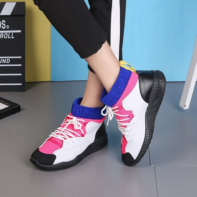 Color Block Lace Up Women's Fashion Sneakers