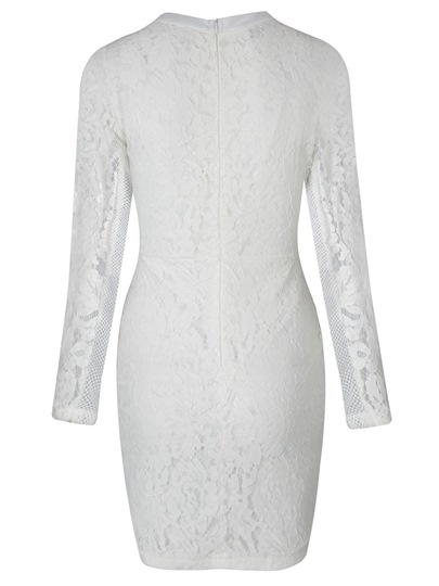 White See-Through Women's Lace Dress