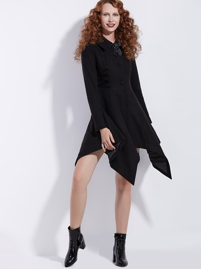 Skirt Hem Single-Breasted Mid-Length Women's Overcoat
