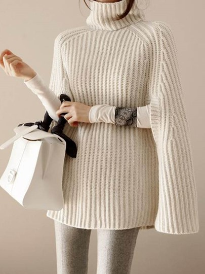 Turtleneck Loose Cape Style Women's Sweater