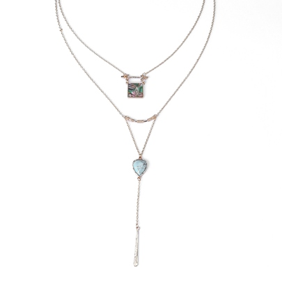 Square Arc Type Pear Shaped Casual Multilayer Necklace