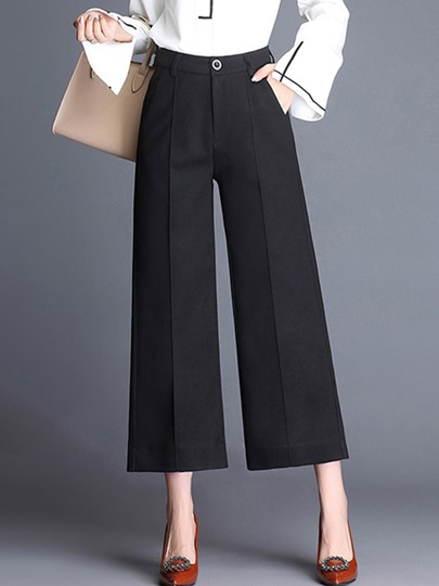 Straight Wide Legs Ankle Length Women's Work Pants