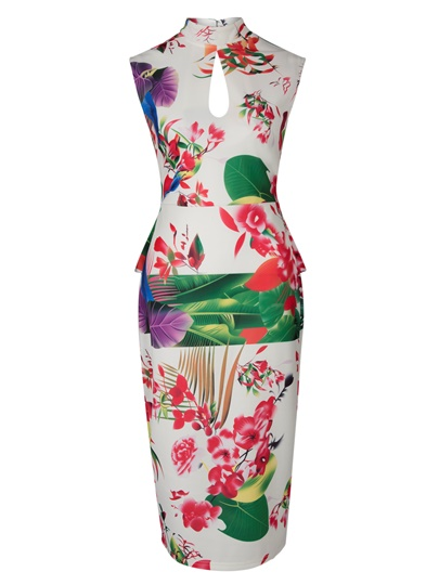 Open Back Landscape Pattern Women's Bodycon Dress