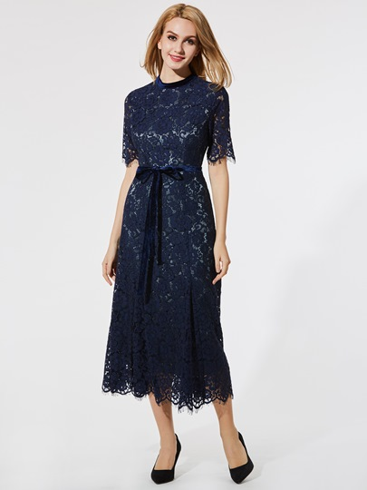 Dark Blue Half Sleeve Women's Lace Dress