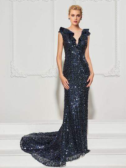 Trumpet Cap Sleeves Ruffles Sequins Court Train Evening Dress