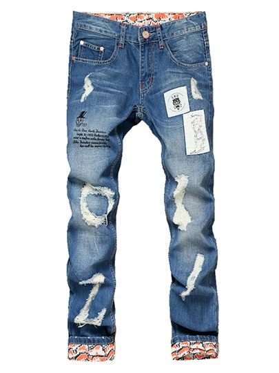 Mid Waist Hole Patchwork Slim Fit Men's Casual Jeans