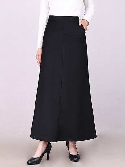 Plain A-Line Pure Color Pocket High-Waist Women's Skirt