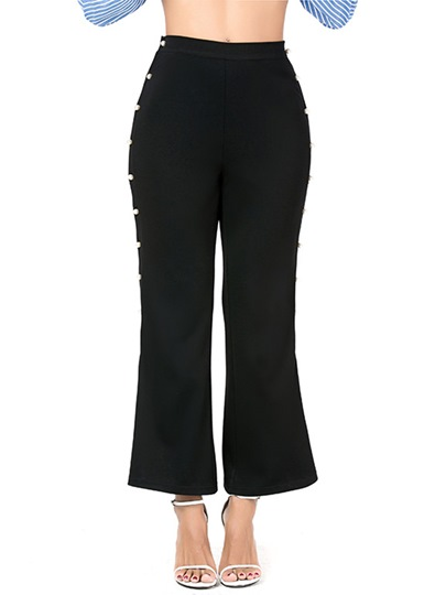 Side Bead High Waisted Women's Casual Pants