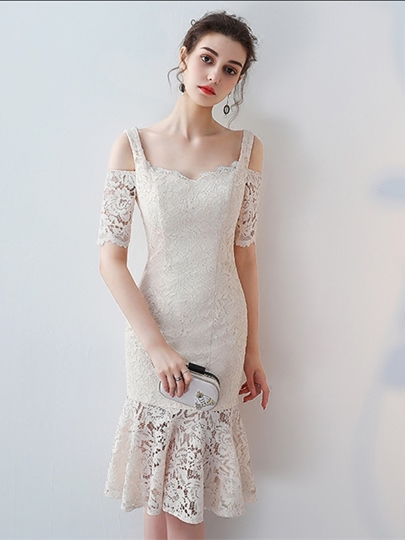 Sheath Straps Short Sleeves Lace Knee-Length Cocktail Dress