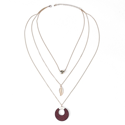 Fashion Alloy Spherical Leaves Acrylic Multilayer Necklace