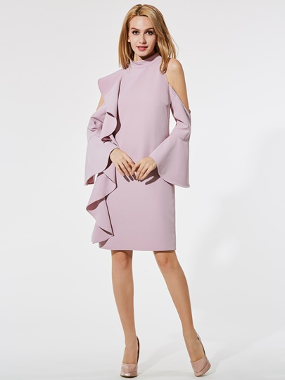 Pink Falbala Cold Shoulder Women's Sheath Dress