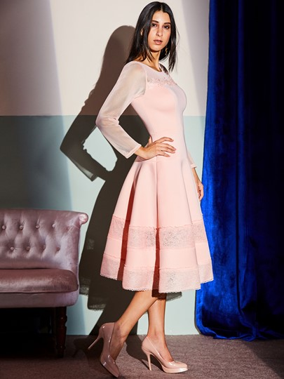 Pink Patchwork See-Through Women's Day Dress
