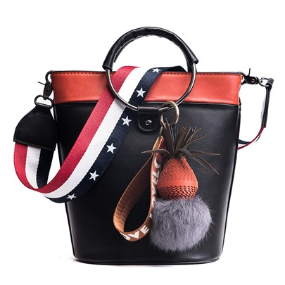 Bucket Shape Trendy Wide Straps Color Block Shoulder Bag