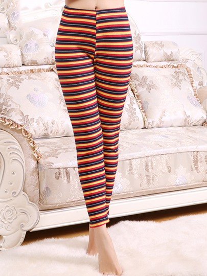 Stripe Print High Waisted Women's Leggings