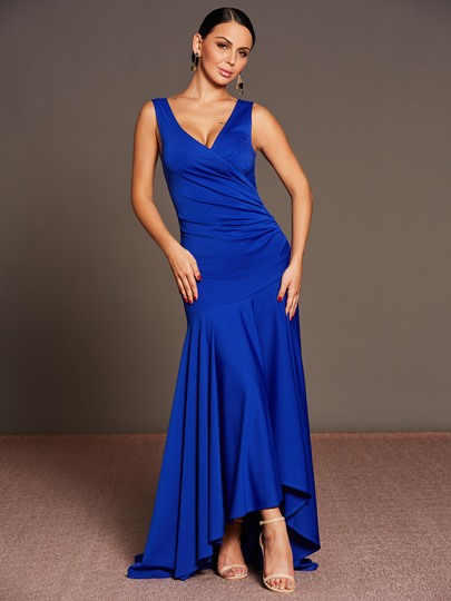 Blue V Neck Asym Women's Maxi Dress