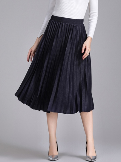 Pleated High-Waist Mid-Calf Women's Skirt