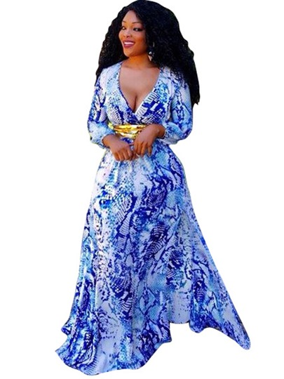 Long Sleeve V Neck Blue Women's Maxi Dress