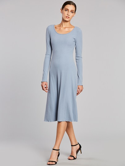 Blue Long Sleeve Women's Day Dress