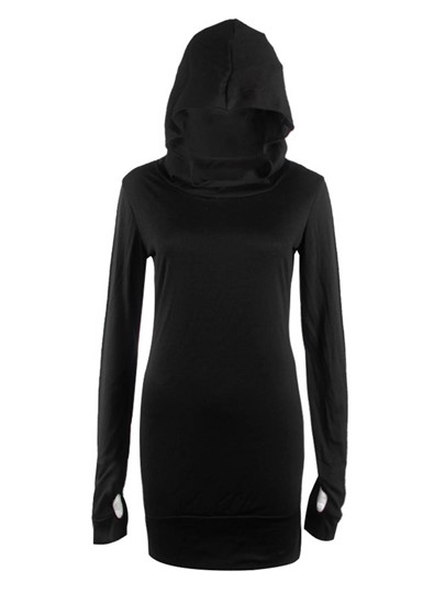 Slim Long Plain Pullover Women's Hoodie