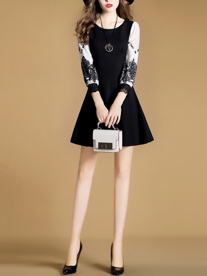 Black 3/4 Sleeve Lace Patchwork Women's Day Dress