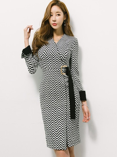Long Sleeve Buckled Women's Sheath Dress