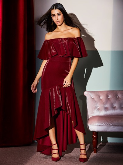 Burgundy off-Shoulder Asym Women's Maxi Dress