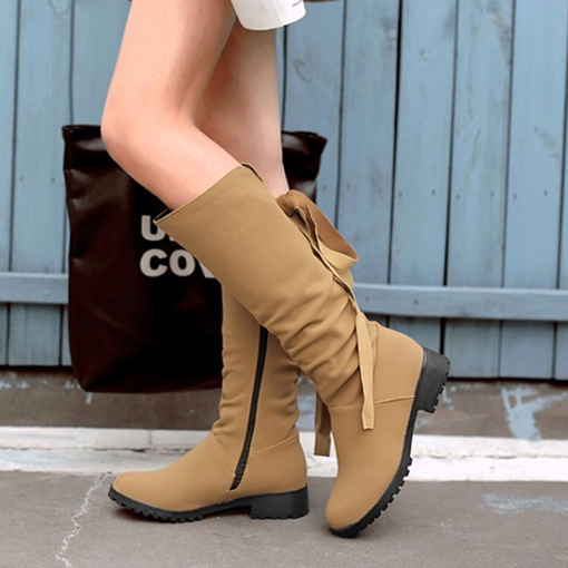 Plus Size Zipper Block Heel Women's Half Boots