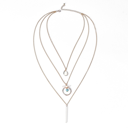 Water Drop Design Hollow Out Horsewhip Multilayer Necklace
