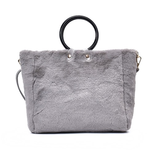 Ring Handle Solid Color Plush Women Tote