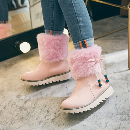 Skidproof Shoes Plush Lace Up Beads Women's Platform Boots