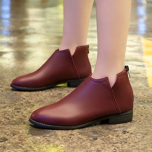 Women's Block Heel Solid Ankle Boots