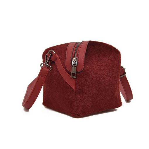 Stylish Square Shape Plush Shoulder Bag