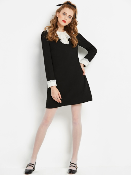 Black Long Sleeve Lapel Women's Day Dress
