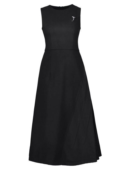Back Zipper Black Ruffled Women's Day Dress