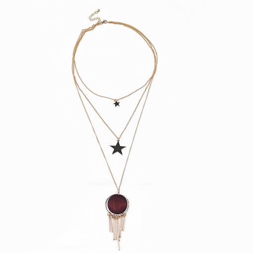 Tassel Pentagram Alloy Horsewhip Geometric Multilayer Necklace