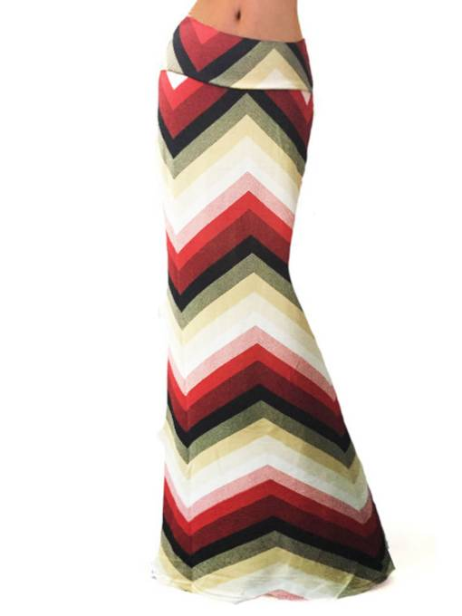 Elastic High Waisted Stripe Print Women's Maxi Skirt