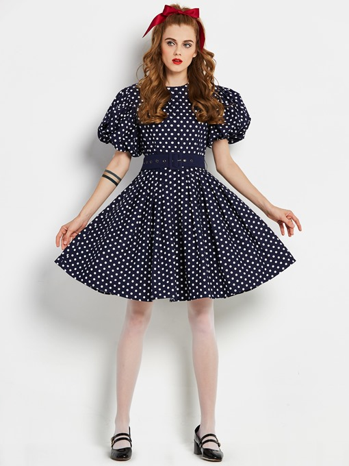 Polka Dots Puff Sleeve Women's Day Dress