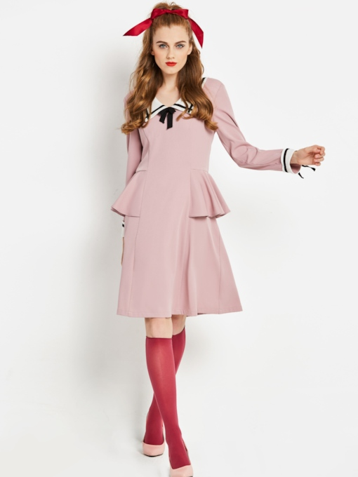 Pink Long Sleeve Tie Neck Women's Day Dress